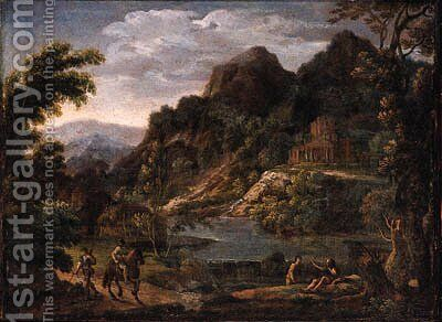 Sportsmen on a track near a waterfall, a castle beyond, in an Italianate landscape by (after) Hendrik Frans Van Lint (Studio Lo) - Reproduction Oil Painting
