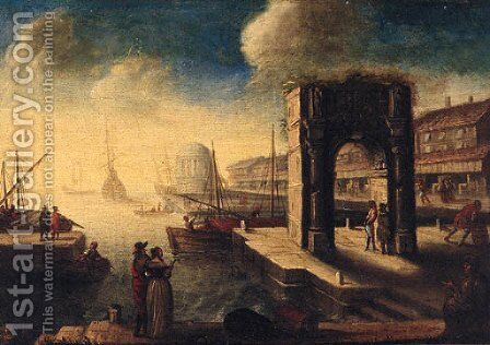 A capriccio of an Italianate port with an elegant couple on a quay by (after) Hendrik Van Minderhout - Reproduction Oil Painting