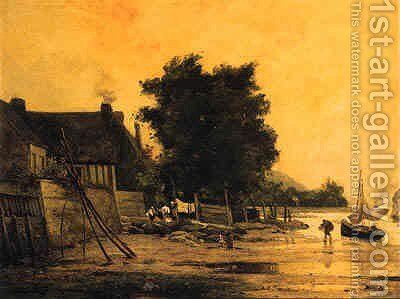 The end of the day by (after)Henri-Joseph Harpignies - Reproduction Oil Painting