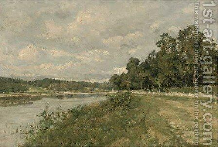 A summer's day by the river by (after) Henri Joseph Harpignies - Reproduction Oil Painting