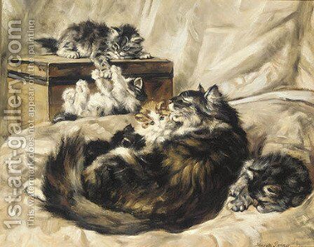 Family time by (after) Henriette Ronner-Knip - Reproduction Oil Painting
