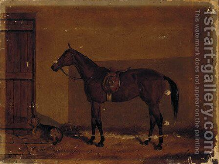 A saddled chestnut hunter with a dog in a stable by (after) Henry Frederick Lucas-Lucas - Reproduction Oil Painting