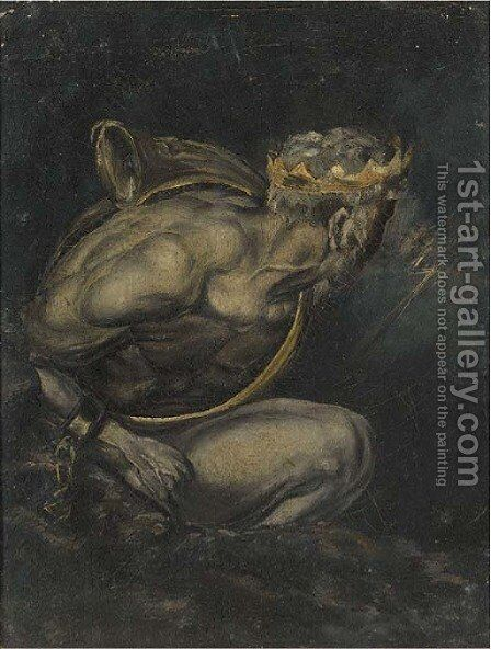 Crowned figure with lightening by (after) Fuseli, Henry (Fussli, Johann Heinrich) - Reproduction Oil Painting