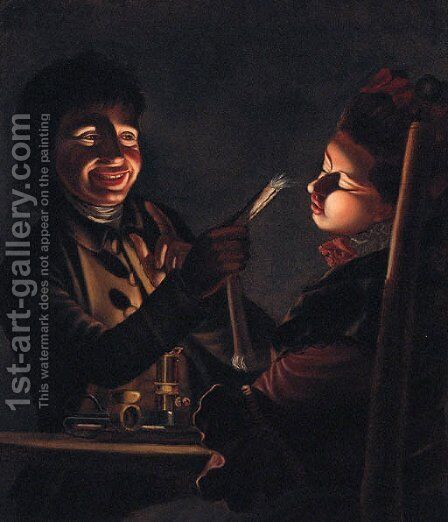 Children playing with a Candle by (after) Henry Robert Morland - Reproduction Oil Painting