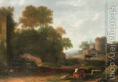 An Italianate landscape with peasants attending their cows and sheep among ruins by (after) Herman Van Swanevelt - Reproduction Oil Painting