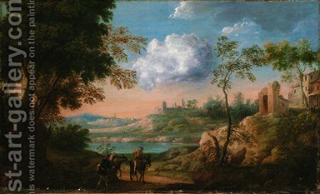 An Italianate landscape with travellers and donkeys on a track by (after) Herman Van Swanevelt - Reproduction Oil Painting