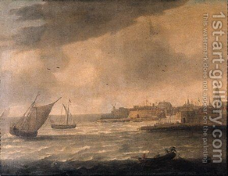 A view of Flushing from the Schelde by (after) Hieronymus Van Diest - Reproduction Oil Painting