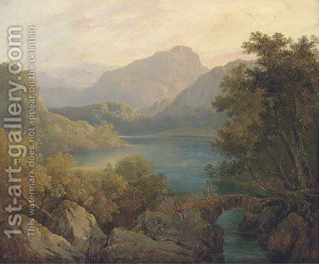 Anglers in a loch landscape by (after) Horatio McCulloch - Reproduction Oil Painting