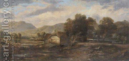 Figures beside a cottage in a highland landscape by (after) Horatio McCulloch - Reproduction Oil Painting