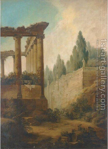 A capriccio of the Roman Forum and the Farnese Gardens by (after) Hubert Robert - Reproduction Oil Painting