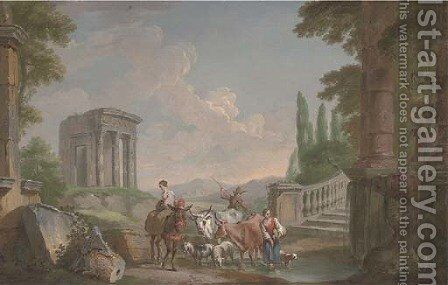 A landscape with classical ruins and drovers and their cattle at a pond by (after) Hubert Robert - Reproduction Oil Painting