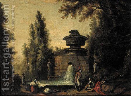 Washerwomen by a fountain with Roman warriors in an Italianate garden by (after) Hubert Robert - Reproduction Oil Painting