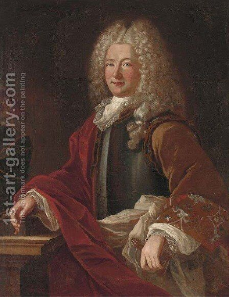 Portrait of a gentleman, standing, three-quarter-length, in a breast plate by (after) Hyacinthe Rigaud - Reproduction Oil Painting