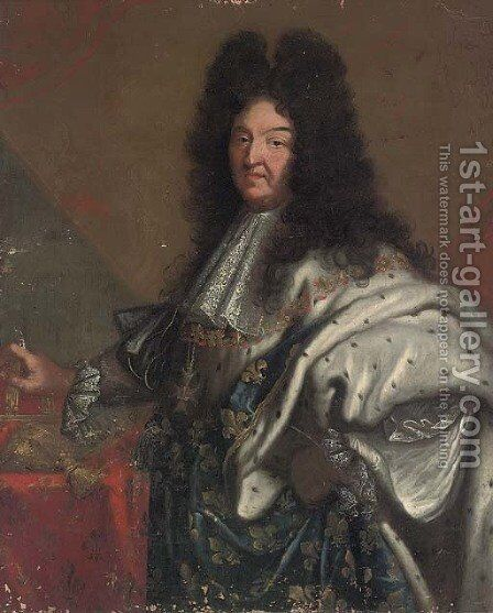 Portrait of King Louis XIV of France, three-quarter-length by (after) Hyacinthe Rigaud - Reproduction Oil Painting