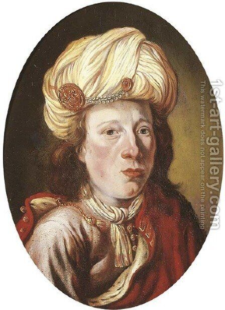 Portrait of a young man, small bust-length, in oriental costume by (after) Isaac De Joudreville - Reproduction Oil Painting