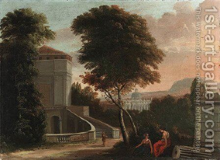 Classical figures in a wooded italianate landscape, with the Basilica of Saint Peter beyond by (after) Isaac De Moucheron - Reproduction Oil Painting