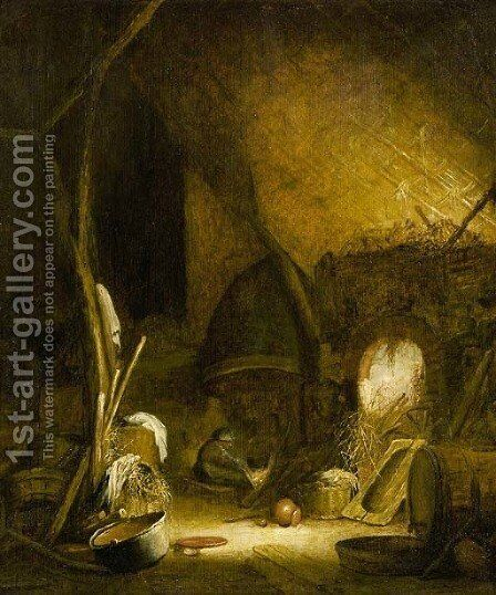 A peasant woman seated by a fire in a barn, pots and pans in the foreground by (after) Isaac Jansz. Van Ostade - Reproduction Oil Painting