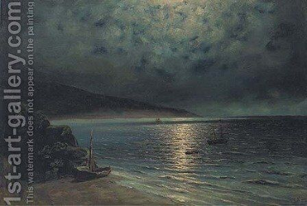 Rowing ashore by moonlight by (after) Ivan Konstantinovich Aivazovsky - Reproduction Oil Painting