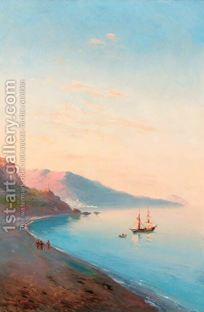 Shipping in a harbour at sunset by (after) Ivan Konstantinovich Aivazovsky - Reproduction Oil Painting