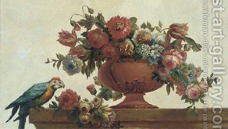 Roses, tulips, carnations, morning glory and other flowers in a vase with a parrot on a ledge by (after) Jacob Bogdani - Reproduction Oil Painting