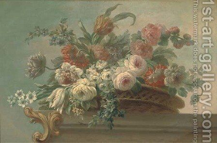 Summer flowers, including tulips, poppies and peonies, in a wicker basket, on a stone ledge by (after) Jacob Bogdani - Reproduction Oil Painting