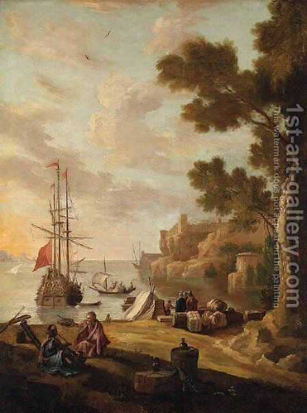 A Mediterranean Coastline with Travellers on the Shore, a Man-o'-War beyond by (after) Jacob De Heusch - Reproduction Oil Painting