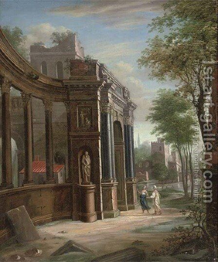 A capriccio of classical architecture with two figures conversing by (after) Jacobus Saeys - Reproduction Oil Painting
