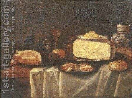 Cheese on a pewter plate and butter on a Wan-Li 'kraak' porselein dish by (after) Jacob Fopsen Van Es - Reproduction Oil Painting