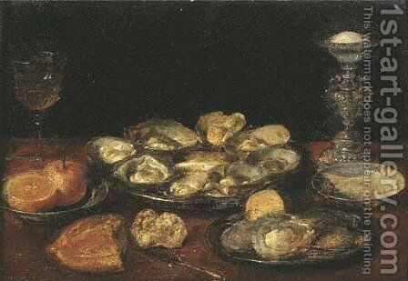 Oysters, a lemon and oranges on pewter plates with a facon-de Venise wineglass by (after) Jacob Fopsen Van Es - Reproduction Oil Painting