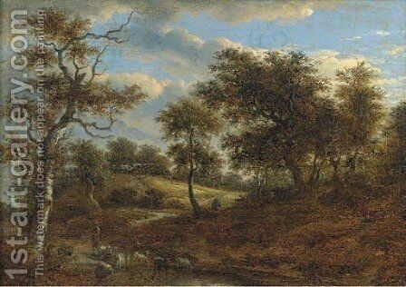 A wooded landscape with a shepherd driving his flock by (after) Jacob Van Ruisdael - Reproduction Oil Painting
