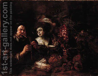 A bagpipe player and a lady by a table laden with fruit by (after) Jacob Jordaens - Reproduction Oil Painting