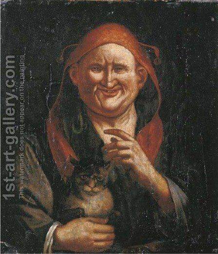 A Jester holding a cat by (after) Jacob Jordaens - Reproduction Oil Painting
