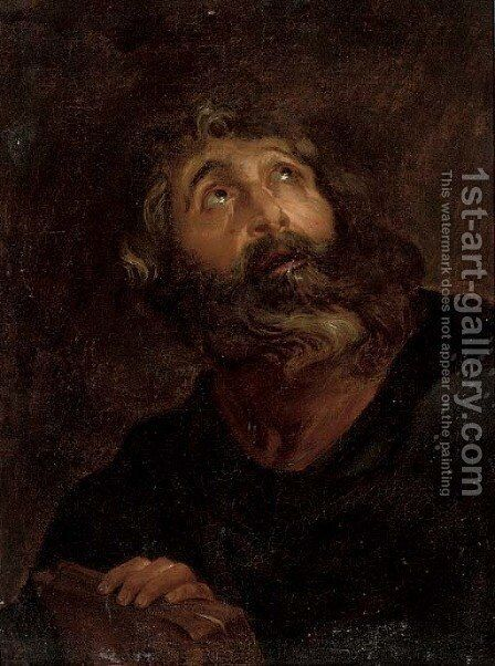 A male saint by (after) Jacob Jordaens - Reproduction Oil Painting