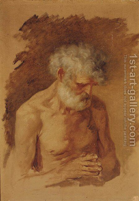 An old man at prayer by (after) Jacob Jordaens - Reproduction Oil Painting