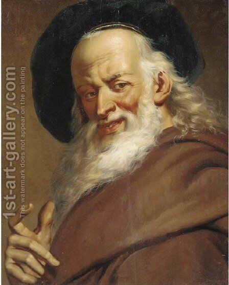 Head of a man wearing a black cap by (after) Jacob Jordaens - Reproduction Oil Painting