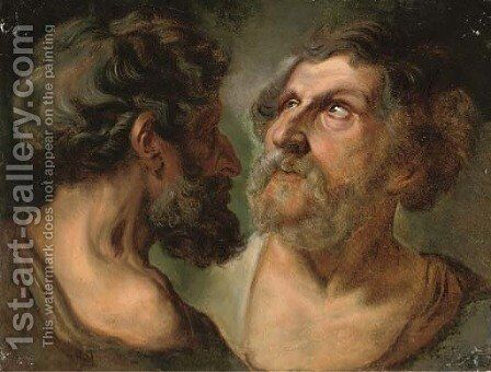 Two studies of an elderly male head by (after) Jacob Jordaens - Reproduction Oil Painting