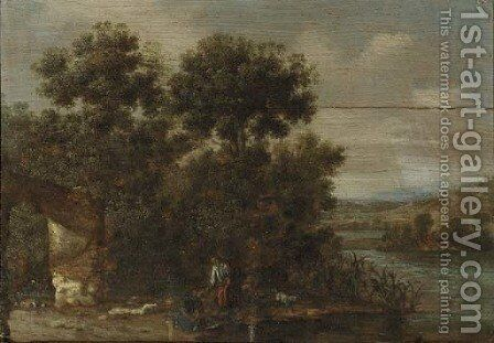 A wooded river landscape with Tobias and the Angel by (after) Jacob Pynas - Reproduction Oil Painting