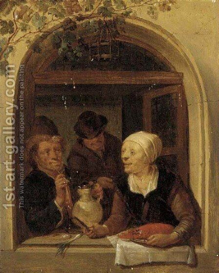 Three figures at a casement by (after) Jacob Toorenvliet - Reproduction Oil Painting