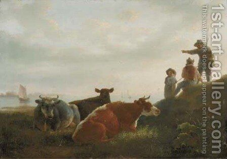 A pastoral landscape with cattle and fishermen by a river by (after) Jacob Van Strij - Reproduction Oil Painting