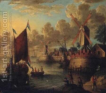 Figures boarding a smalschip in a port with fishermen on the shore by (after) Jacobus Storck - Reproduction Oil Painting