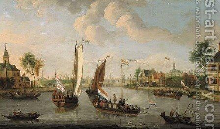 Yachts on the Buiten Amstel, Amsterdam, with the spires of the Zuider- and Oude Kerk beyond by (after) Jacobus Storck - Reproduction Oil Painting