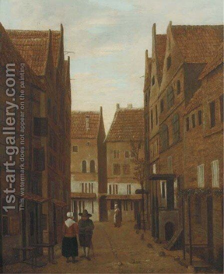 A city view with figures conversing in the street by (after) Jacobus Vrel - Reproduction Oil Painting