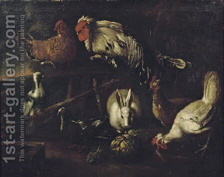 A rooster, chickens, pigeons and a hare outside a stable in a landscape by (after) Jacomo (or Victor, Jacobus) Victors - Reproduction Oil Painting