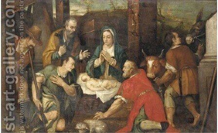 The Adoration of the Shepherds 2 by (after) Jacopo Bassano (Jacopo Da Ponte) - Reproduction Oil Painting