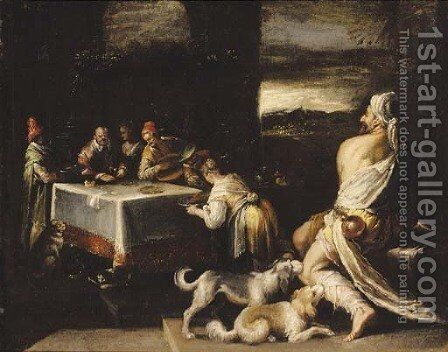 Dives and Lazarus by (after) Jacopo Bassano (Jacopo Da Ponte) - Reproduction Oil Painting