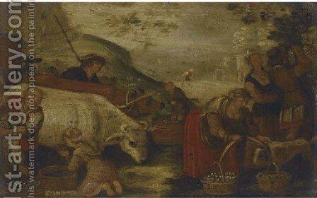 Figures milking a goat and tending to farm animals by (after) Jacopo Bassano (Jacopo Da Ponte) - Reproduction Oil Painting
