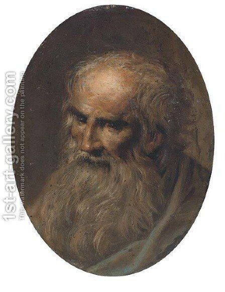 Head of a male saint by (after) Jacopo Tintoretto (Robusti) - Reproduction Oil Painting