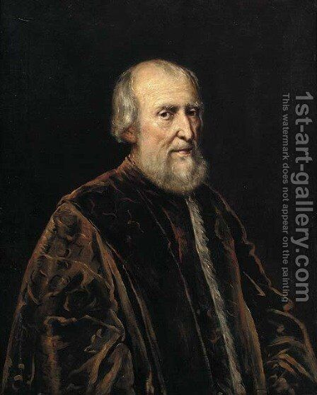 Portrait of an elderly gentleman by (after) Jacopo Tintoretto (Robusti) - Reproduction Oil Painting