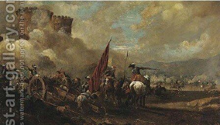 A cavalry and artillery battle before a fort by (after) Jacques Courtios, Il Borgognone - Reproduction Oil Painting