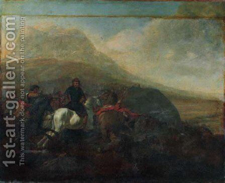 A cavalry skirmish 6 by (after) Jacques (Le Bourguignon) Courtois - Reproduction Oil Painting